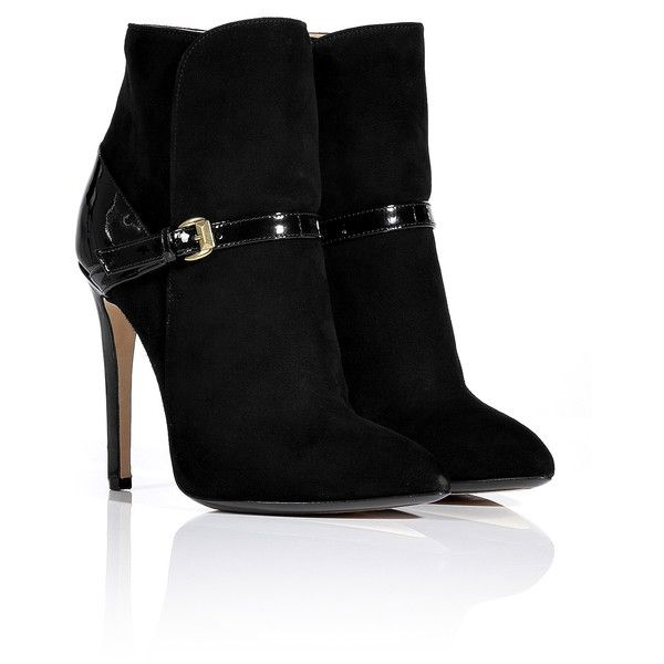 EMILIO PUCCI Black Patent and Suede Ankle Boots (1.455 BRL) ❤ liked on Polyvore featuring shoes, boots, ankle booties, heels, sapatos, zapatos, high heel stilettos, black patent leather booties, black booties and black suede boots