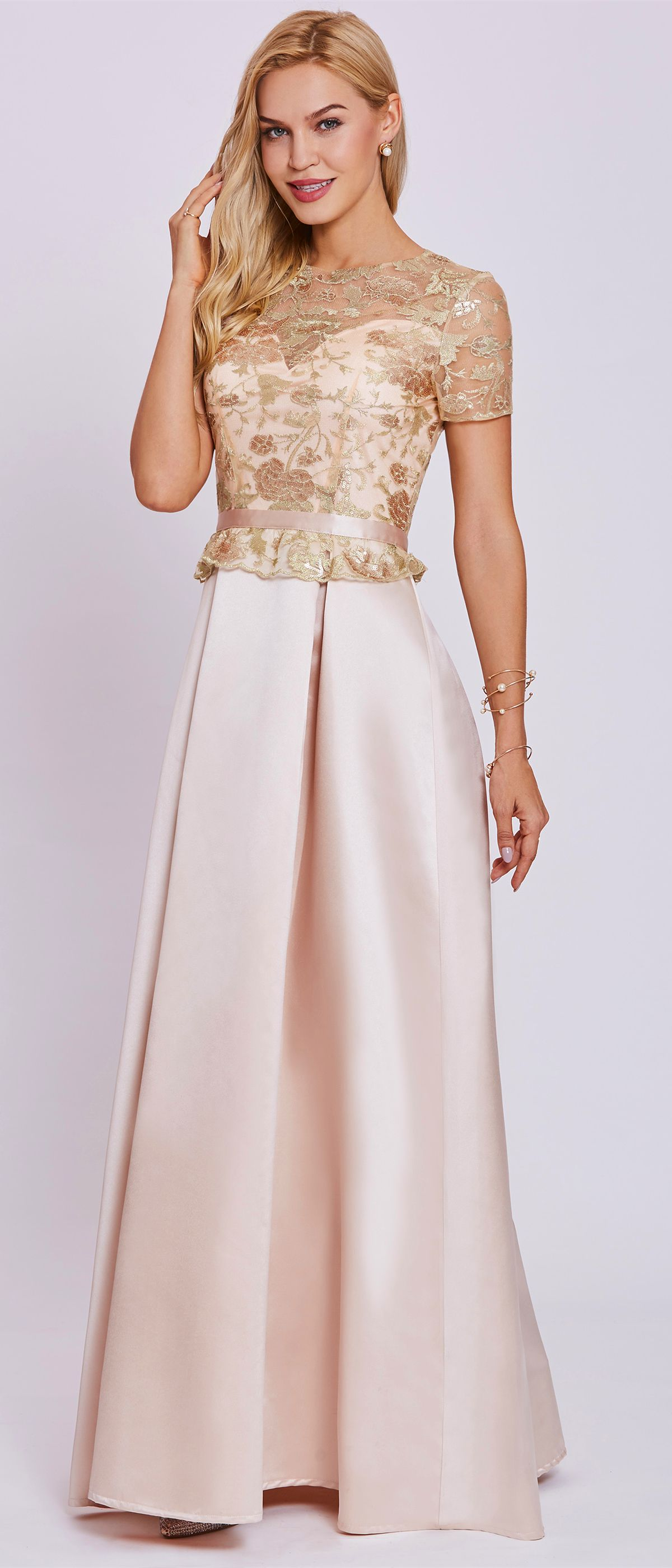 Scoop neck short sleeves a line evening dress in ball gowns