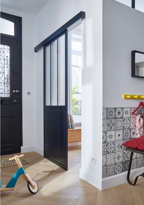 Porte coulissante vitrée Atelier 83 cm Atelier - porte coulissante style atelier