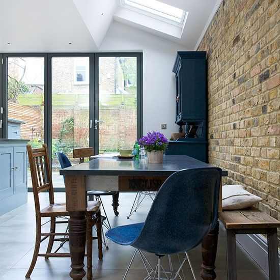 Kitchen Room Decorating Ideas: Dining Room With Exposed Brick Wall