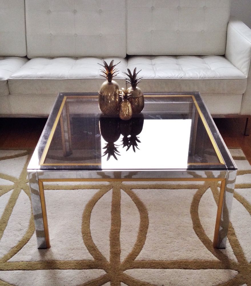 zevi 70s gold chrome glass coffee table mid century hollywood