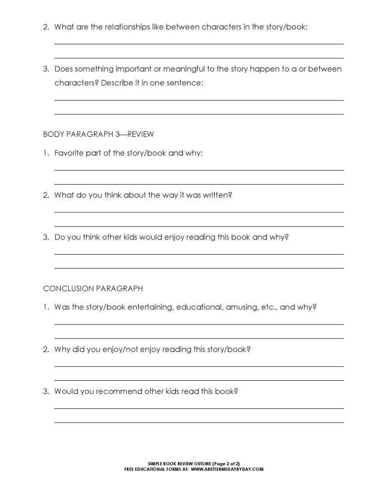free simple 5 paragraph book review or report outline form - Example Of Book Review Essay