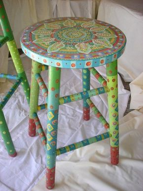 Bright Handpainted Wooden Stool   Buscar Con Google
