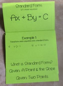 standard form math algebra  Standard Form of a Linear Equation (Foldable) for Algebra 6 ...
