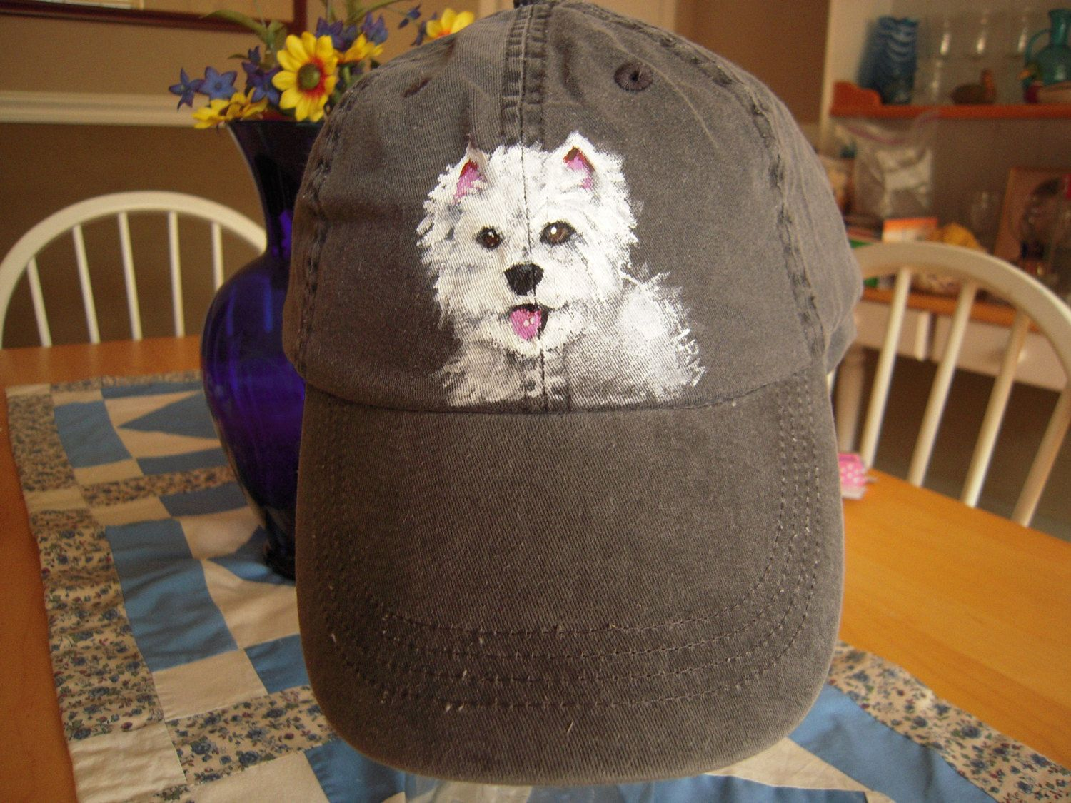 White baseball caps for crafts - Westie Westhighland Terrier White Hand Painted Baseball Cap By Anvil Metal Closure By Mactavishmitchellart On Etsy