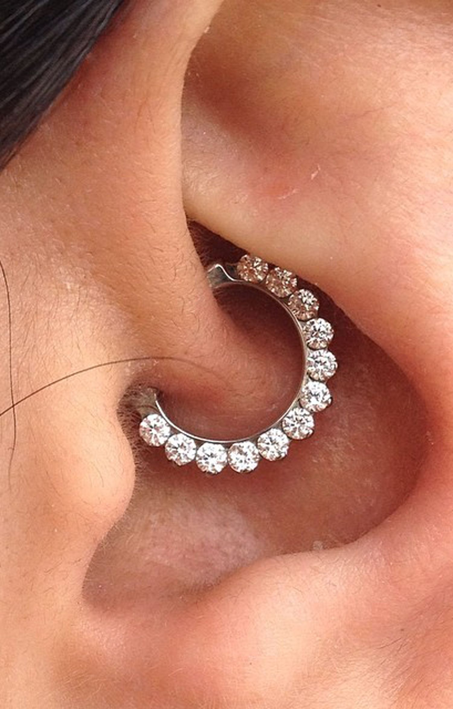 Brice Swarovski Crystal Clicker In Silver Daith Earrings Daith