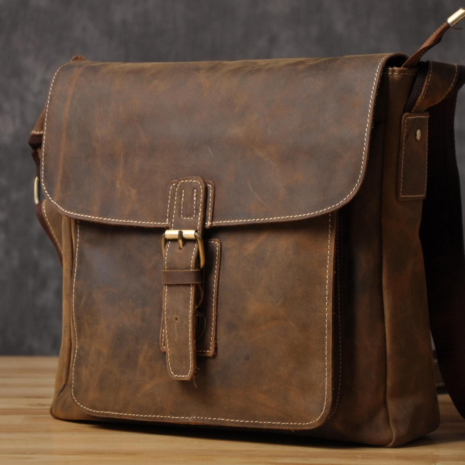 European And American Handmade Leather Man Bag British Retro Crazy Horsehide Do The Old Messenger Shoulder Origina Online With