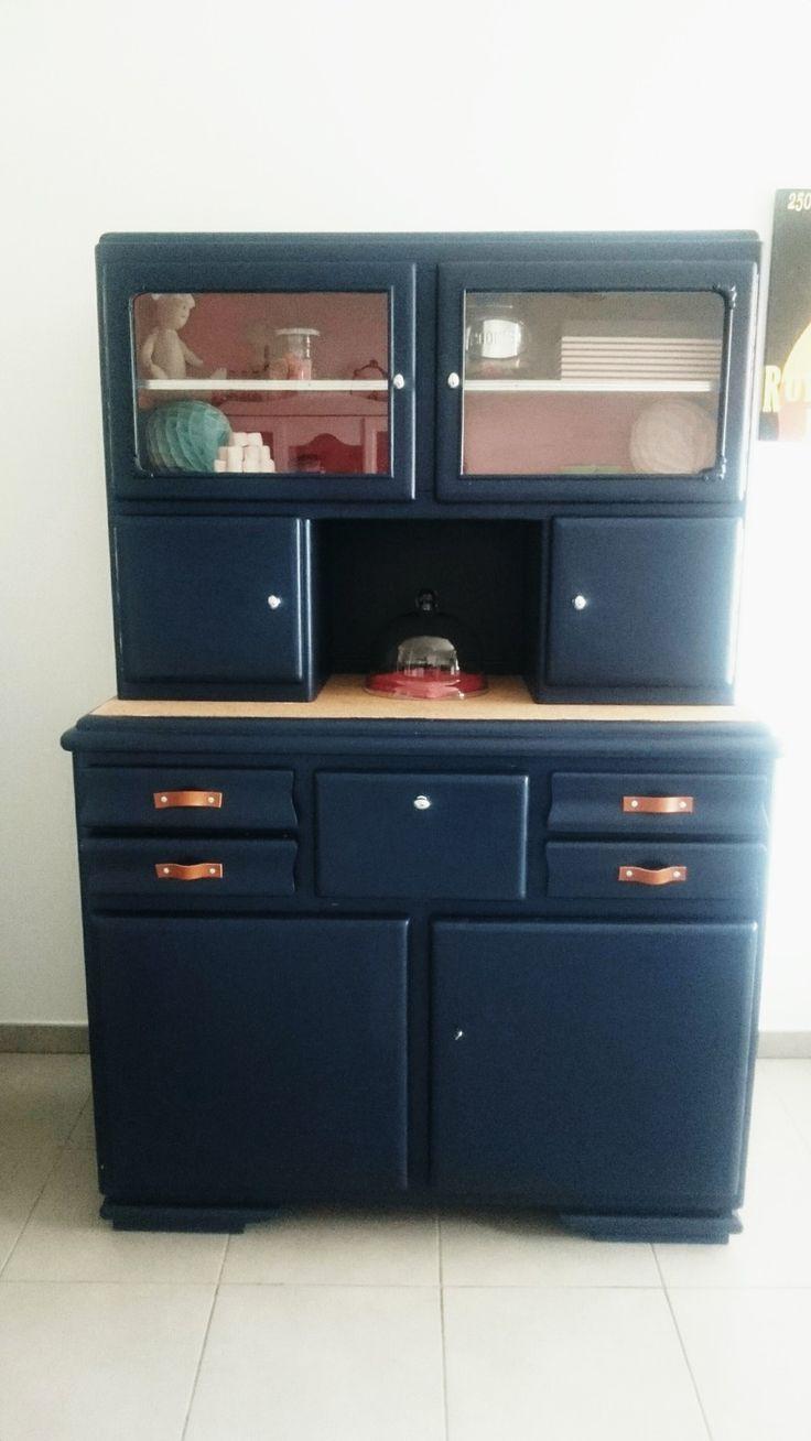 Buffet Mado Vintage Bleu Marine Relooke Fiora Pinthouse Retro Furniture Retro Home Decor Furniture