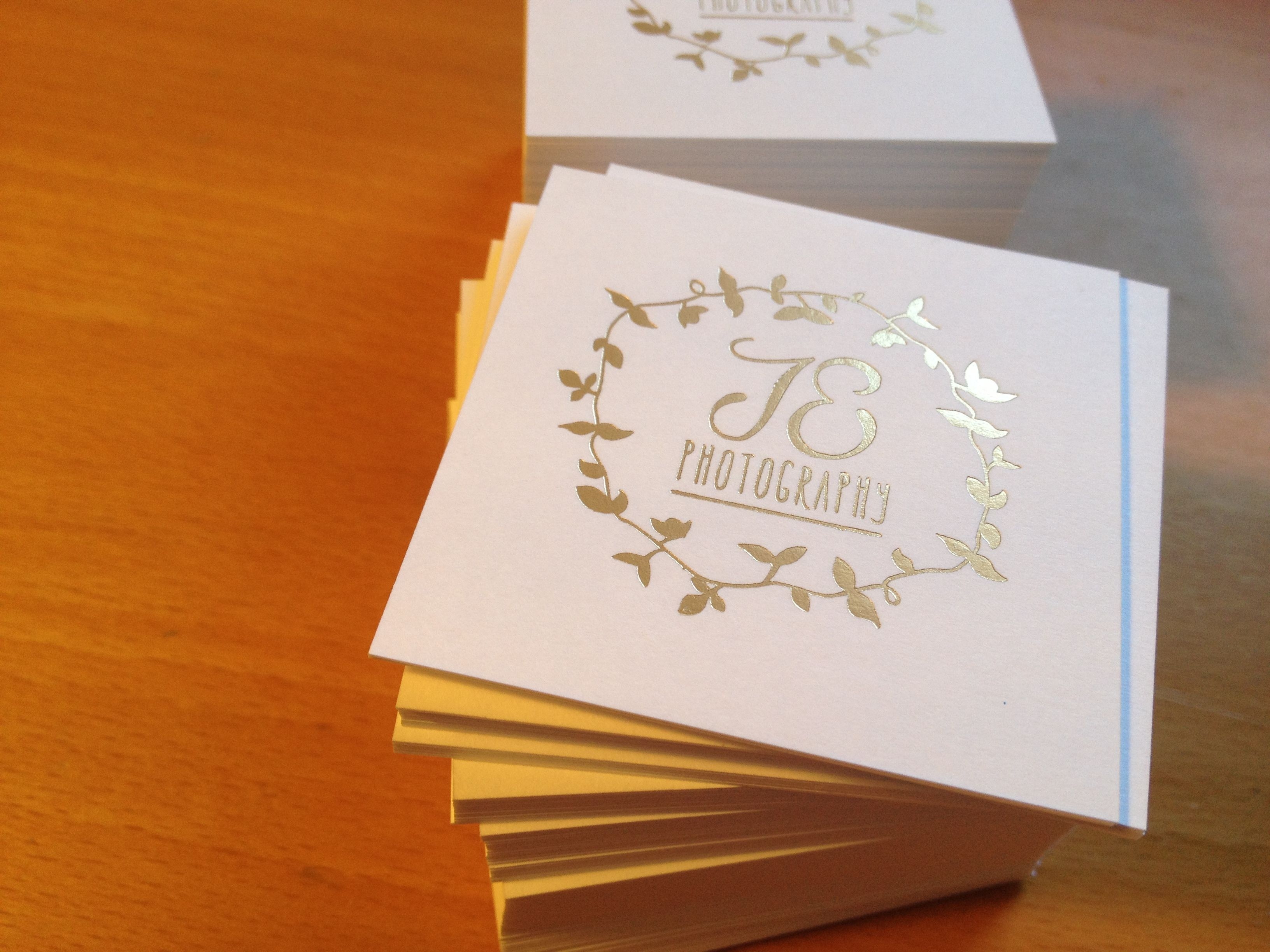 Matte gold foil business card with custom size printing for