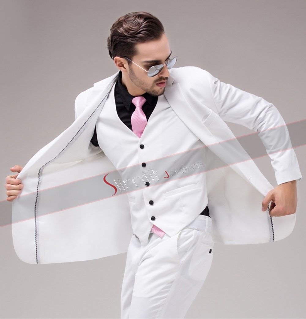 Mens Prom White Suit | Slim Fit Wedding Prom White Suit | Pinterest ...