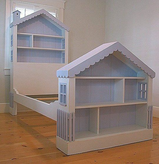 Girls DOLLHOUSE BED Solid Wood 30 CUSTOM PAINTS & STAINS Cottage ...