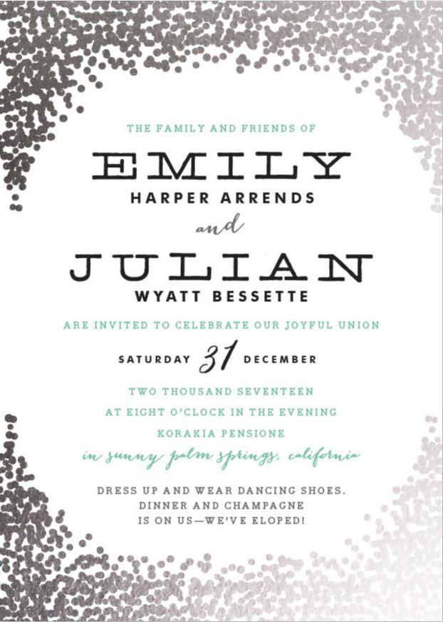 Elopement Announcement Wording Trendy Wedding Invitations Foil Pressed Wedding Invitations Wedding Invitation Wording