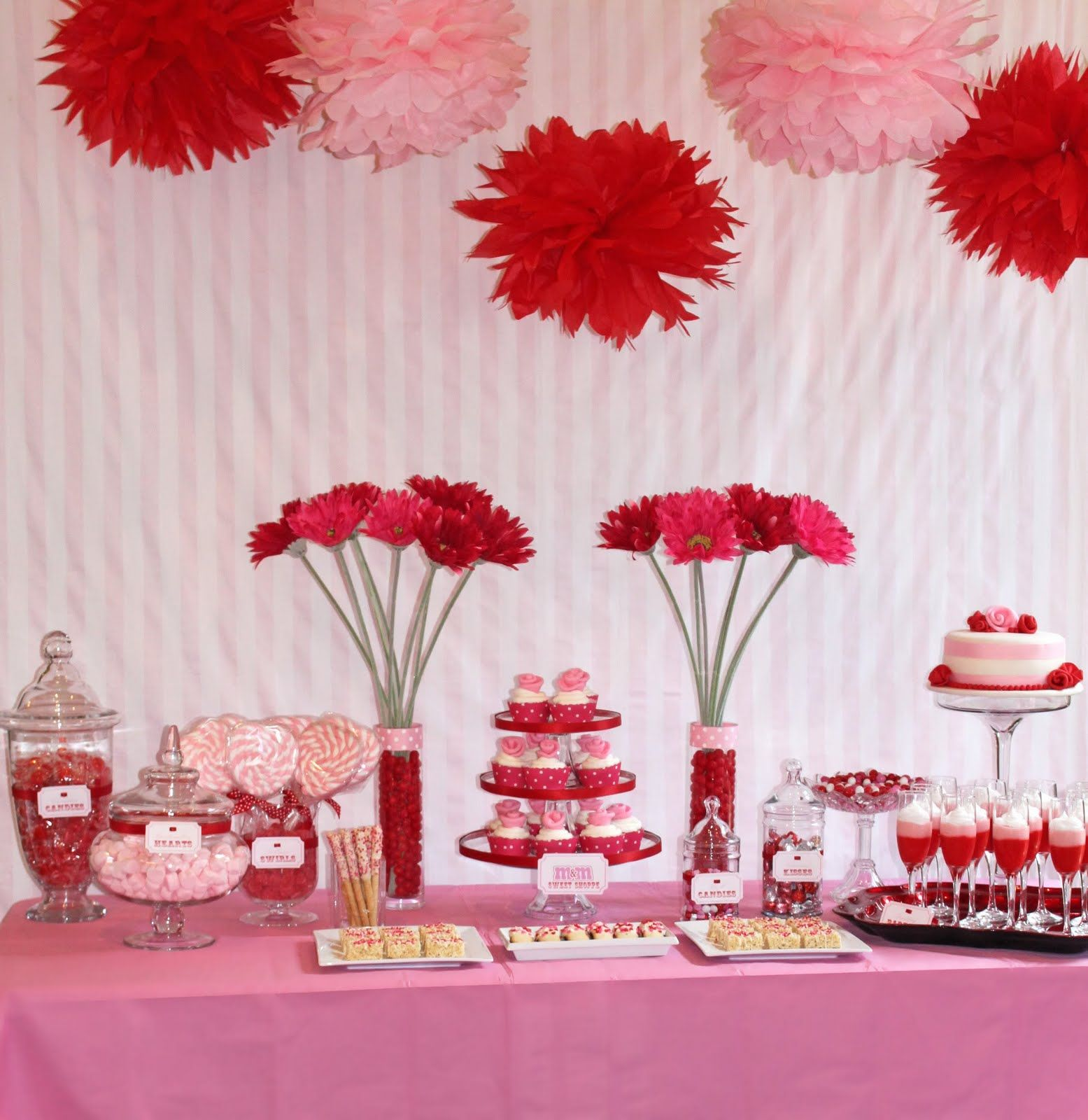 Table decoration ideas for valentines day - Sweet Valentine S Day Party