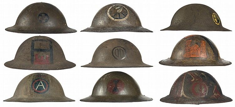 1) U S  M1917 style helmet with 33rd Infantry Division