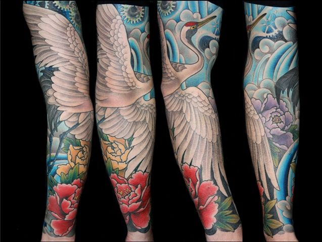 Traditional Japanese Crane Peonies Water Sleeve Tattoo By Danny