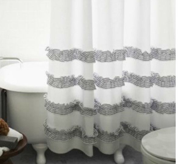 Natural Linen Shower Curtain Features 4 Rows Of Ruffles Adding A Hint Elegance To Casual Ticking Stripes On This Pure Flex