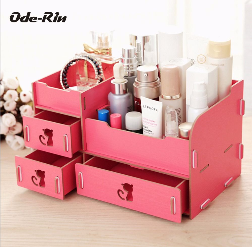 Ode-Rin Wooden Storage Box Jewelry Container Makeup Organizer Case ...