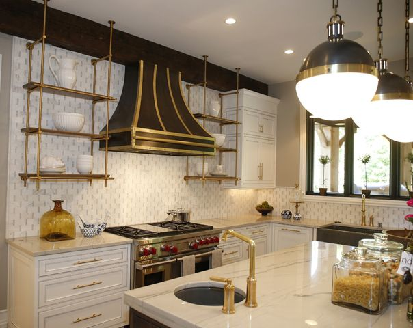 Hanging brass shelving in the kitchen! Our Collector's