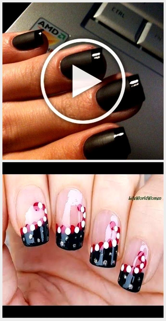 Glossy French Tips design for black nails.,  #Black #Design #French #Glossy #nai…