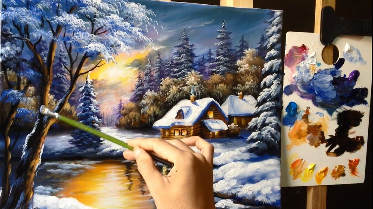 A Winter Scene With A Large Tree Some Snow And A Small River This Is A Real Ti Landscape Painting Tutorial Winter Scene Paintings Landscape Painting Lesson