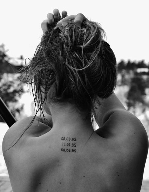 With my 3 siblings birth dates. This may be my next tat. Love the placement to, right below my cross