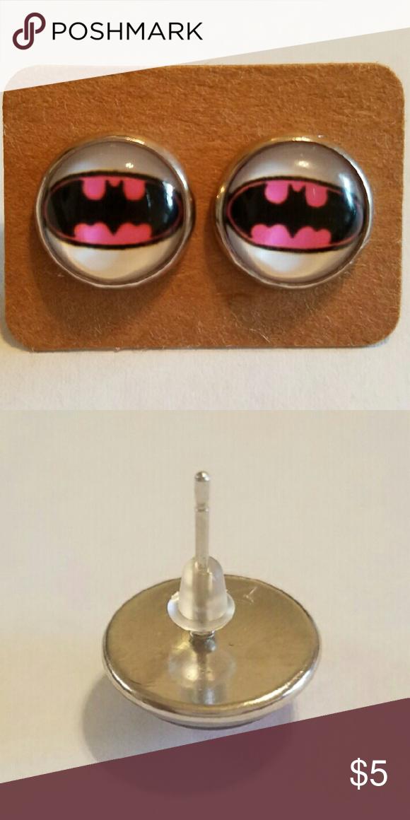 Batgirl Earrings 12mm  Hypoallergenic stainless steel  Hypoallergenic plastic ear backs Jewelry Earrings
