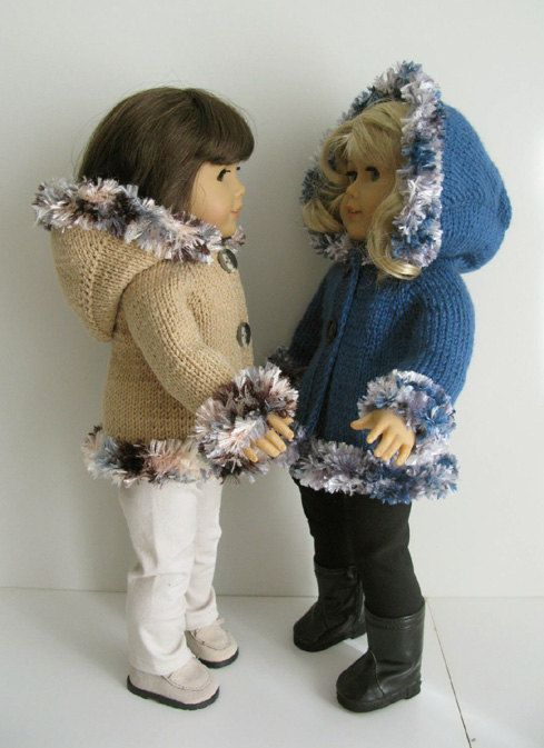 HOODED JACKET American Girl 18 inch doll BEGINNER level Knitting pattern with clips (52) #americandolls