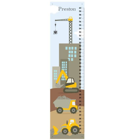 Kids Growth Chart Personalized Canvas Growth Chart Construction Trucks Boys Bedroom Wall Art Kids Growth Chart Growth Chart Personalised Kids