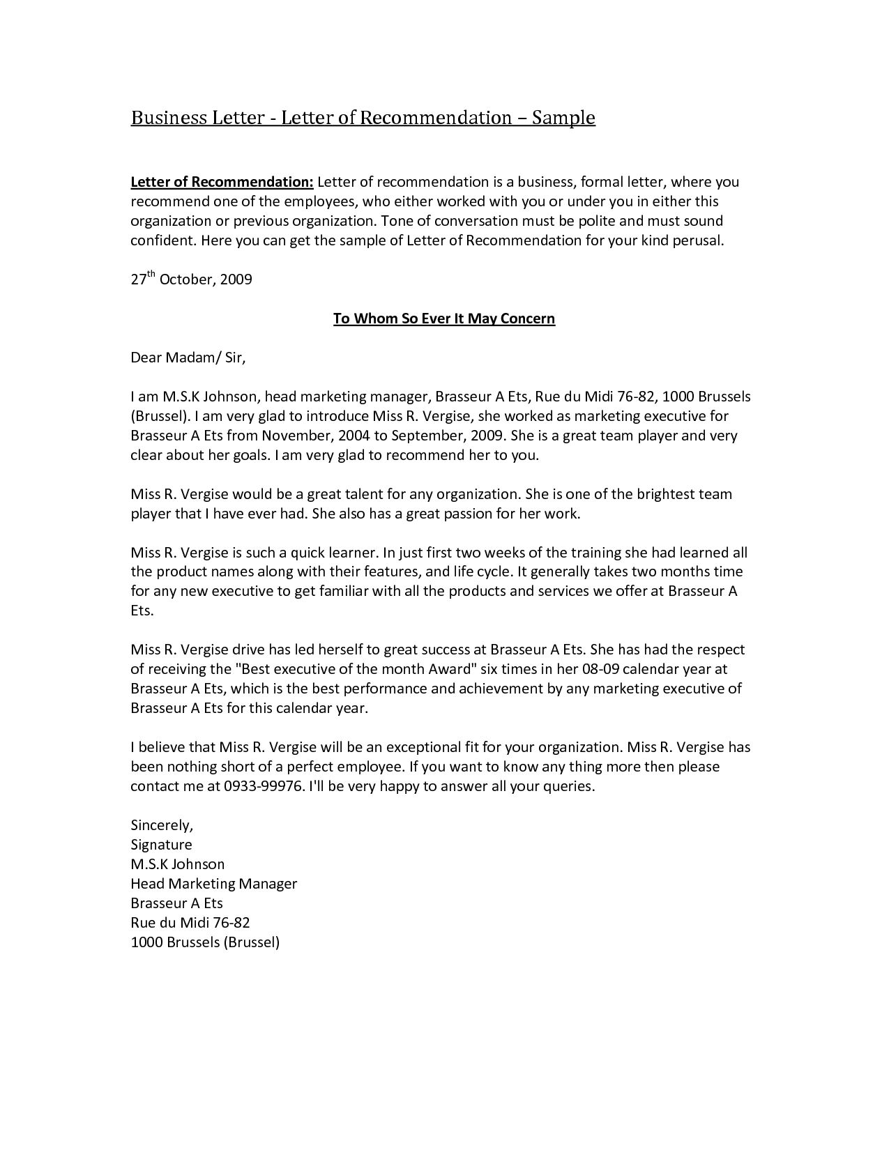 Business Reference Letter Template Word Collection