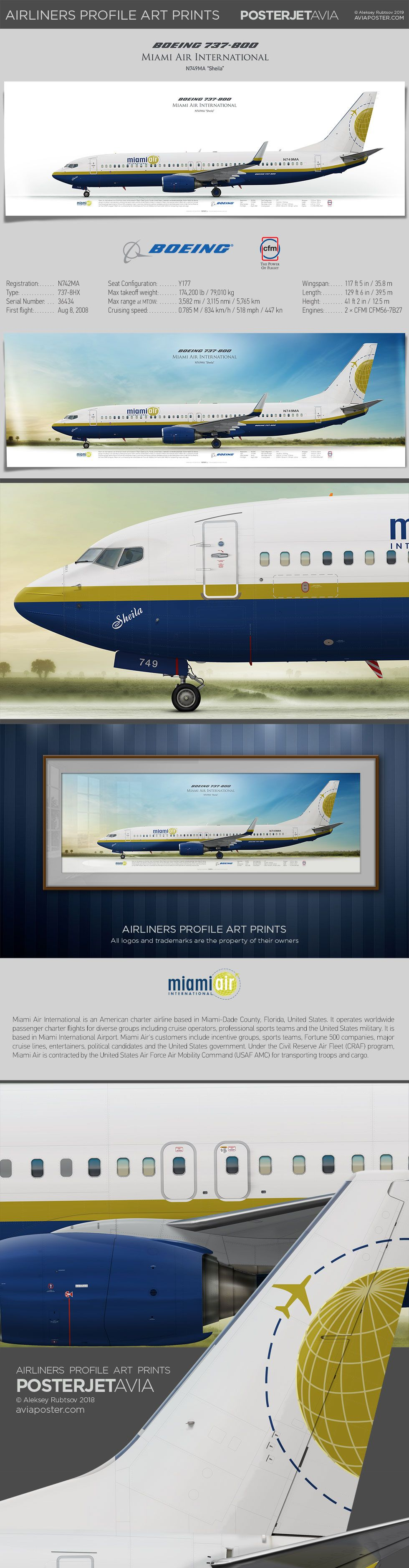 Boeing 737 800 Miami Air International Airliner Profile Art