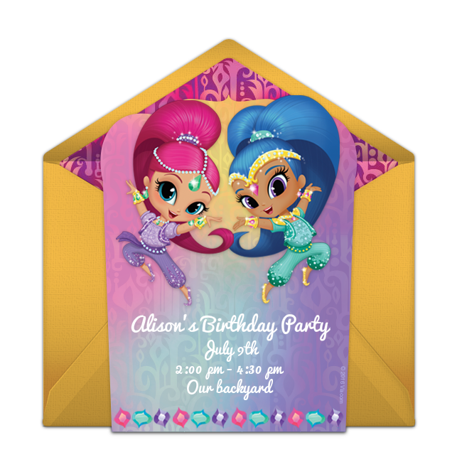 Free Birthday Party Invitation Showcasing A Shimmer And Shine Design Love This For