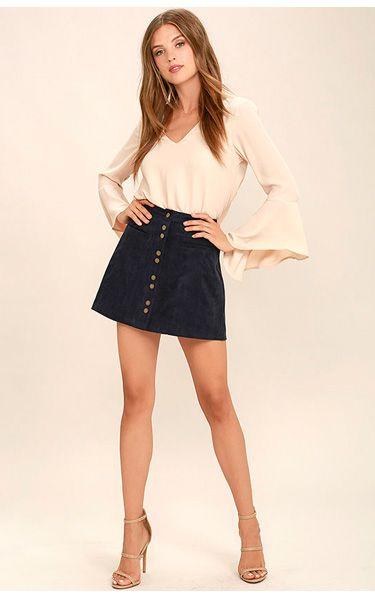 23636e7ab499 Made With Moxie Navy Blue Corduroy Mini Skirt