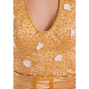 Long Appliques Taffeta Beaded Natural Waist Sleeveless Prom Dress