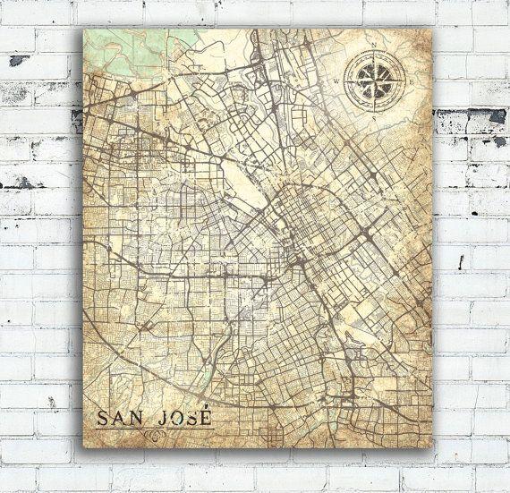 san jose california vintage map city san jose city california vintage wall art print poster usa