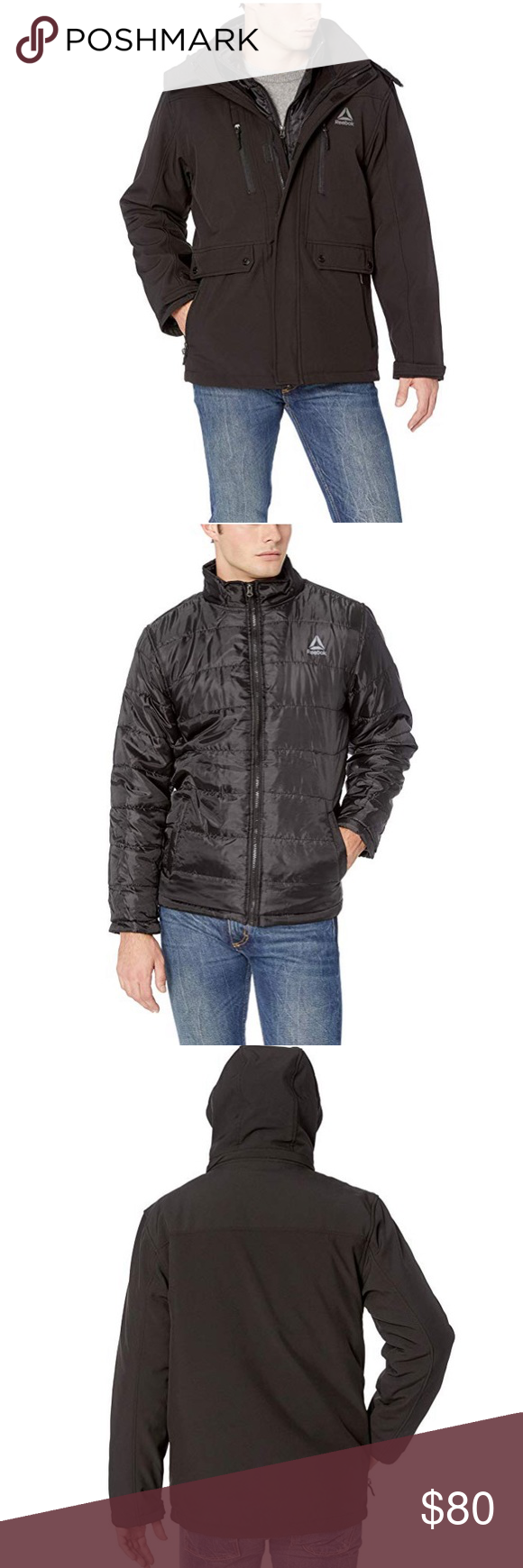 Reebok Men S Softshell Active 3 In 1 Jacket Large Outerwear Jackets Outer Jacket Jackets [ 1740 x 580 Pixel ]