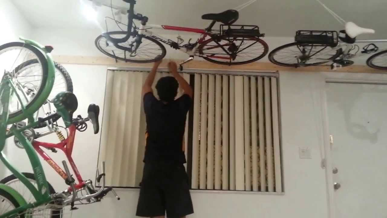 Cheap And Easy Diy Flat To Ceiling Storage Bike Storage Garage Bike Storage Garage Ceiling Bike Storage Diy