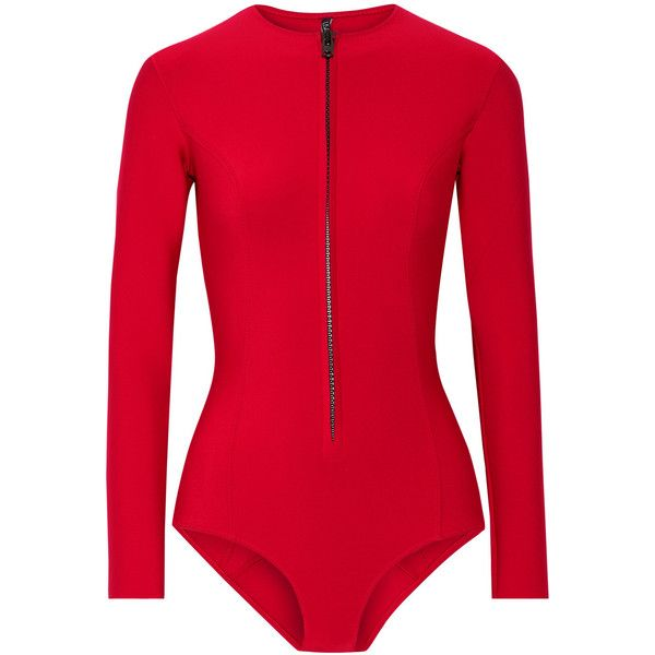 62e8f598233fc Lisa Marie Fernandez Farrah neoprene swimsuit (31.020 RUB) ❤ liked on  Polyvore featuring swimwear, one-piece swimsuits, swimsuit, red, zip one  piece ...