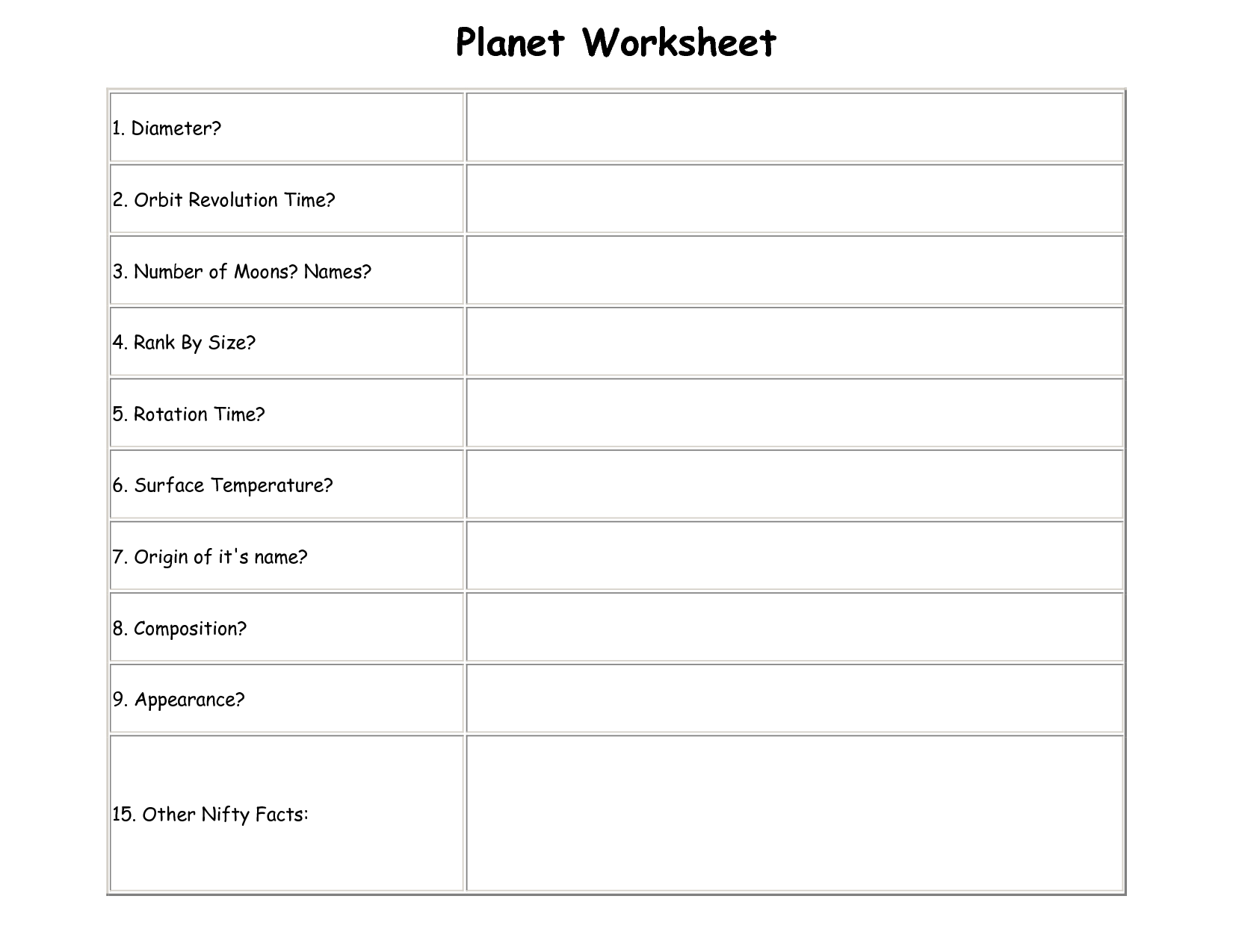 Planet Earth Worksheets With Images