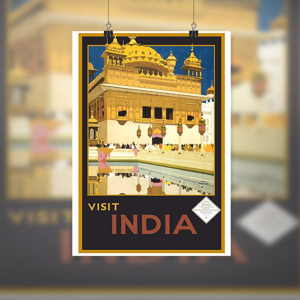 Vintage Travel Poster India printable art antique illustration home ...
