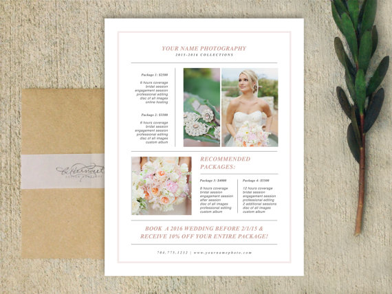 Wedding Photographer Magazine Style Pricing Guide Templates - guide templates