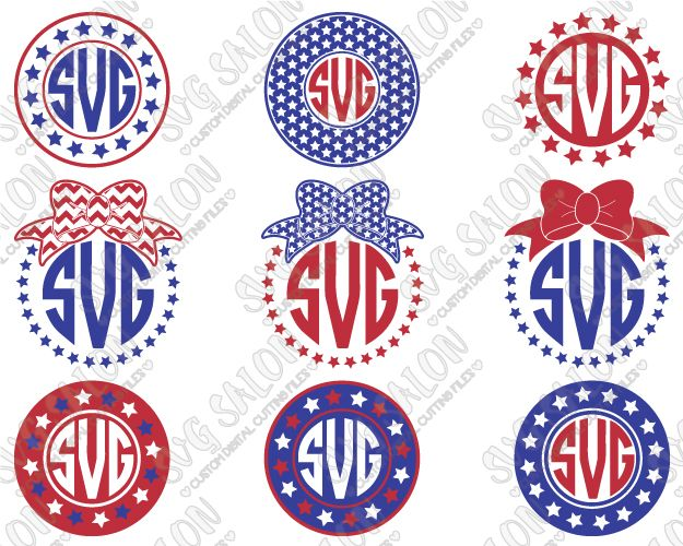 American Flag Fourth Of July Circle Monogram Chevron  Stars - Custom vinyl decals cutter for shirts
