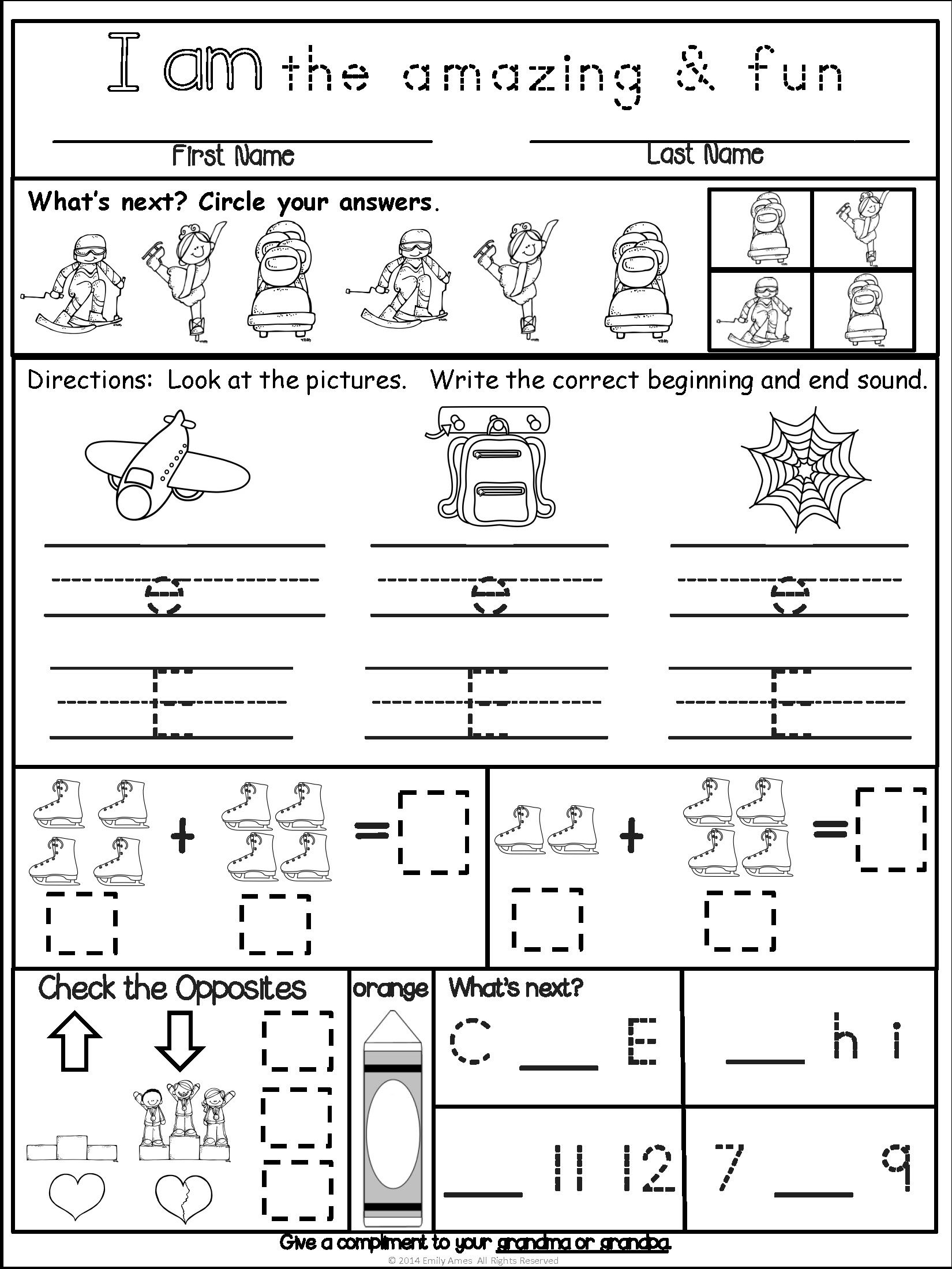 Homework Kindergarten February Packet Differentiated Common Core