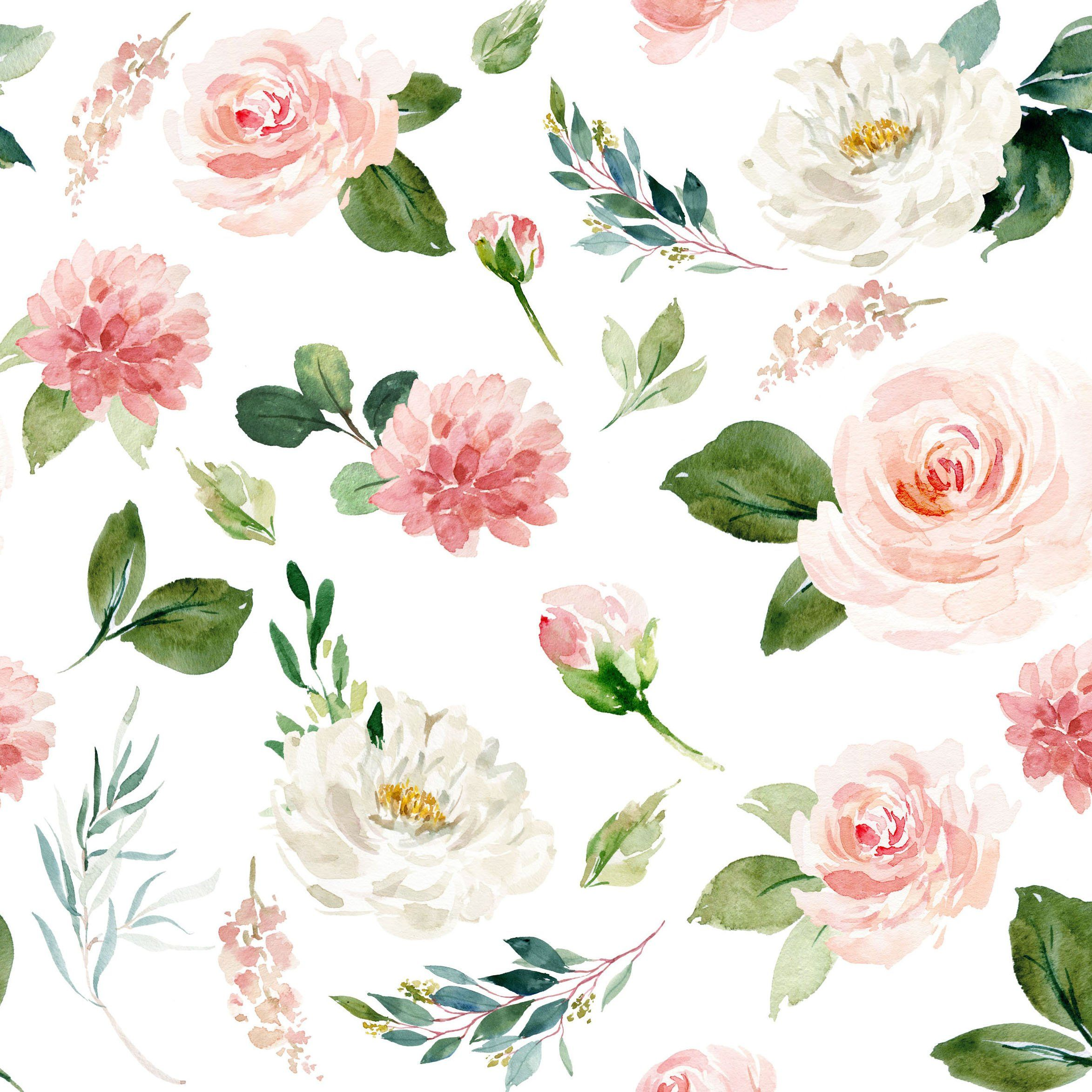 Boho Blush Florals Fabric By The Yard Quilting Cotton Organic