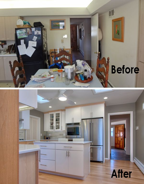 Before After A Mid Century Kitchen Goes Modern Home Remodeling Remodeling Mobile Homes Home Addition Plans