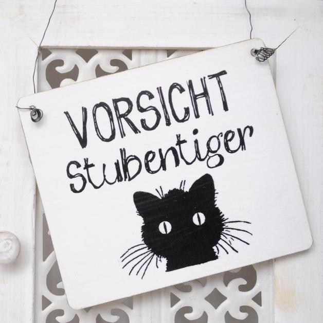 Holzschild Dekoschild Weihnachten Im Shabby Chic Von: Dekoschild VORSICHT STUBENTIGER