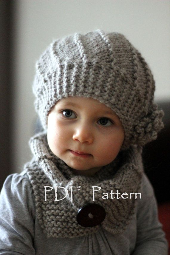 PDF Knitting Pattern , Hat and Cowl COOL WOOL (Toddler, Child, Adult sizes)  , English, French, Russian