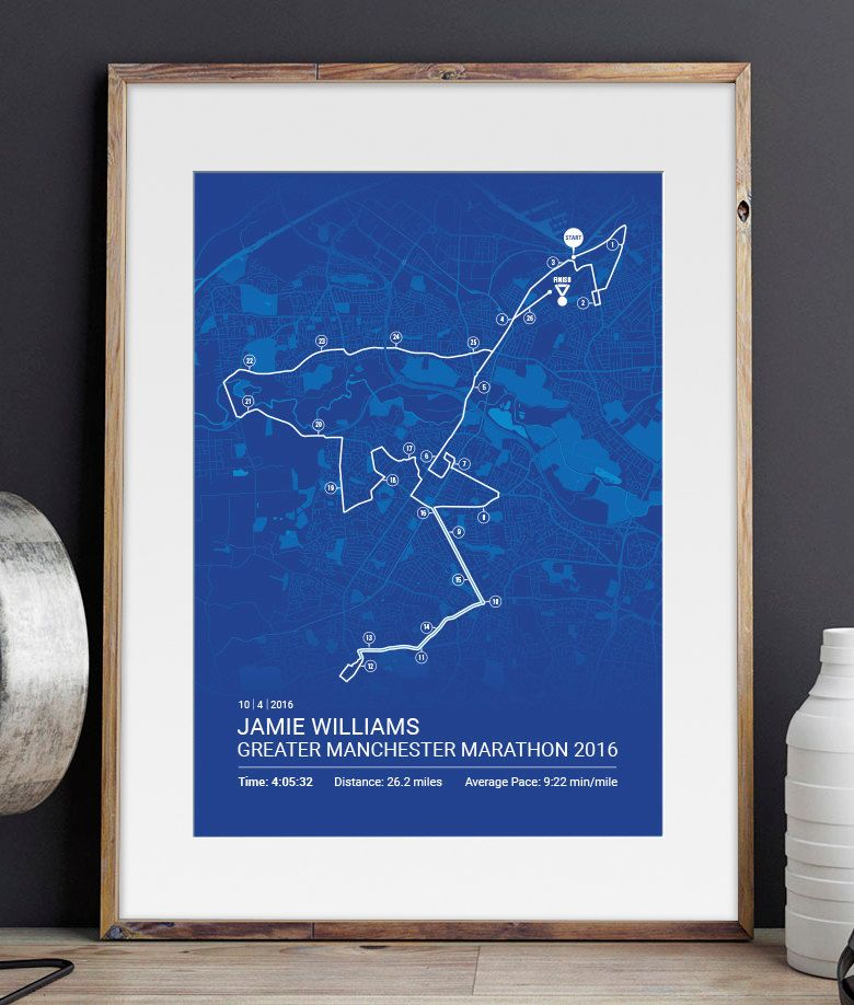 Greater Manchester Personalised Marathon Poster Memento