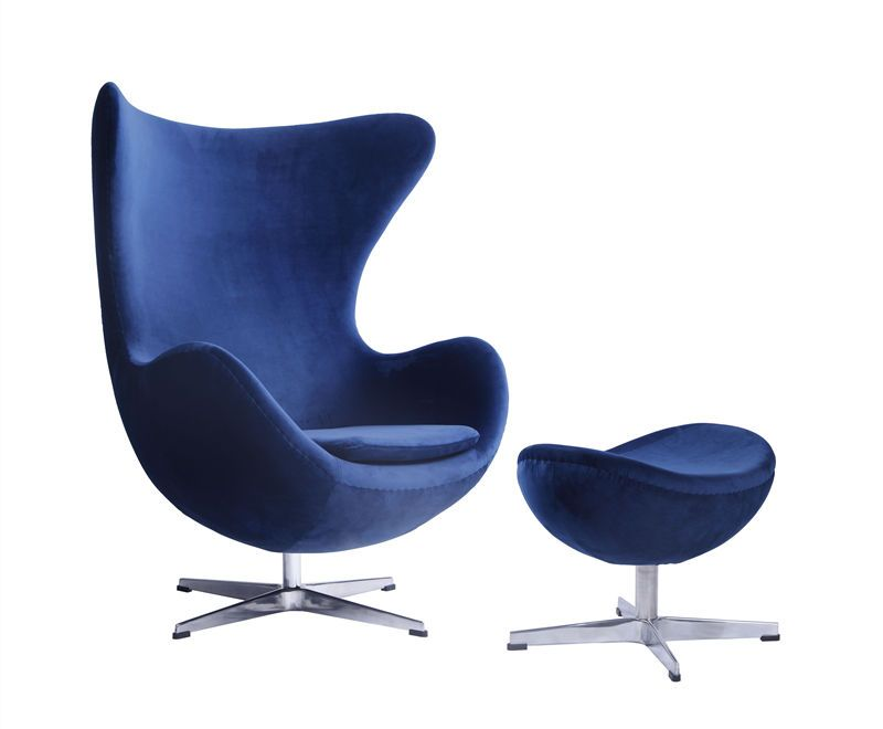 Classic Modern Living Room Lounge Chair Upholstered With Blue