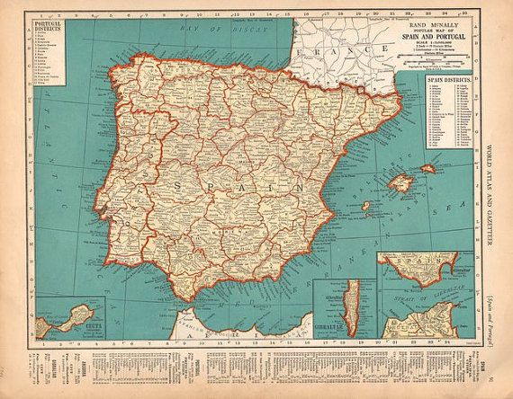 Detailed Map Of Spain.Beautiful 1940 Detailed Map Of Spain And By Catchingcanaries 9 00