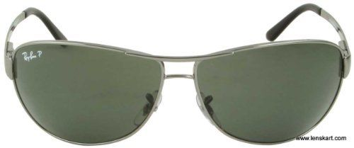 61b5a28535adb New Ray Ban RB3342 004 58 Warrior Gunmetal Crystal Green Lens 60mm  Polarized Sunglasses